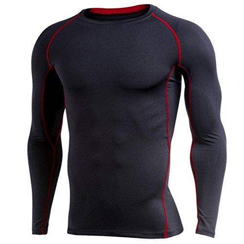 フェローシップ咽頭かんたんRIVOOLS 長袖 Tシャツ メンズ インナー 男性用機能性肌着 コンプレッションウェア 吸汗速乾 姿勢矯正 (XXXXL, ブラック+レッド)