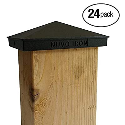 "Nuvo Iron Decorative Pyramid Aluminium Post Cap for 3.5"" x 5.5"" / 4"" x 6"" Posts - Black [24 Pack]"