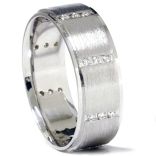 3/8ct Mens 14K White Gold Diamond Wedding Ring Band - Size 8