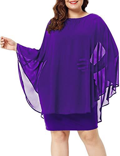Round Cape Overlay Chiffon Dresses Midi Purple Womens Party Neck Maketina with tqpwgxU4