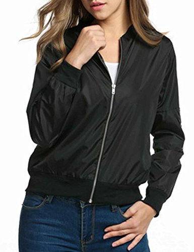 HOTOUCH Ladies Bomber Jacket Vintage Zip Up Biker Slim Short Outerwear Black M (Season Bomber Jacket)