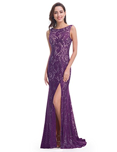 Ever-Pretty Womens Sleeveless Lace Wedding Guest Dress 10 US Dark - Guest Dress Purple Wedding