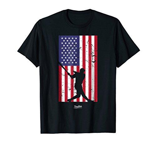 American Flag Baseball Love Distressed Baseball Player Shirt -