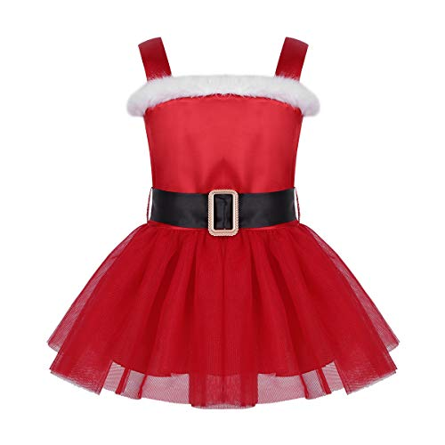 Agoky Infant Baby Girls Christmas Mrs Santa Claus Dress Xmas Costumes Fancy Tutu Party Dresses Red 12-18 Months -