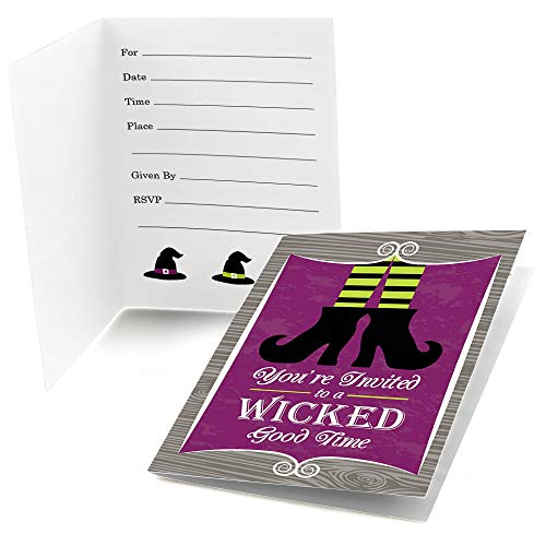 (Big Dot of Happiness Happy Halloween - Fill in Witch Party Invitations (8 Count))