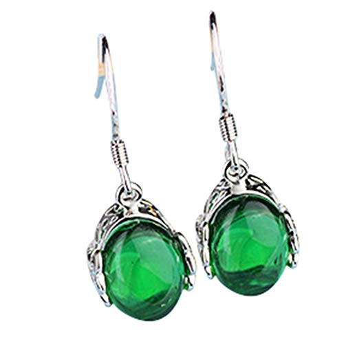 Onefeart White Gold Plated Fishhook Earrings Drop Earrings for Women Green Agate 10x24MM Green