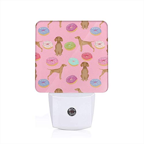 Led Night Light Vizsla Dogs Donut Food Novelty Funny Cute Pink Donuts Love Dogs Love Donuts Auto Senor Dusk to Dawn Night Light Plug in for Baby, Kids, Children's Adults Room
