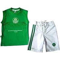Rêve D'or Sport - Conjunto Bermuda Board e Regata Palmeiras Menino, 2, Verde/Branco