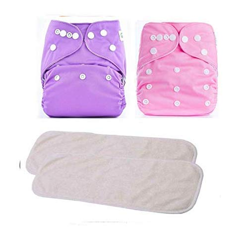 Ineffable Combo of Quirk Reusable Baby Washable Cloth Diaper Nappies with Multi Layered Micro- Fibre Baby Insert Pads (Pink & Purple) (Set of 2) (Assorted Colours)