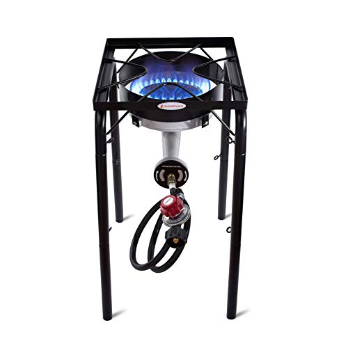 Camplux JK-SL21 Single Burner Outdoor Camp Stove 200,000 BTU, Heavy-Duty Propane Gas Cooker with Adjustable Height and CSA Listed Regulator, Perfect for Home Brewing and Griddles
