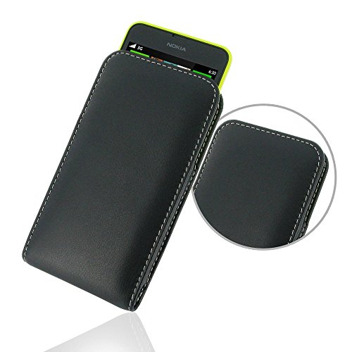 Nokia Lumia 630 635 Leather Holster Pouch, PDair Genuine Leather Holster, Protective Black Pouch, Case Holster, Handmade Premium Vertical Holster for Nokia Lumia 630 635, (NO Belt - Free 635 Shipping Nokia Case