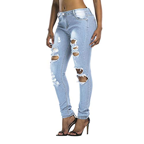 DORIC Wholesale Women Slim Washed Ripped Hole Gradient Long Jeans Denim Sexy Regular Pants Blue