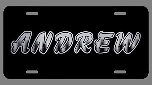 Andrew Name Etched Style Personalized Front License Plate Novelty Vanity Gift Aluminum Car Tag Sign 4 Holes 12 x 6 ()