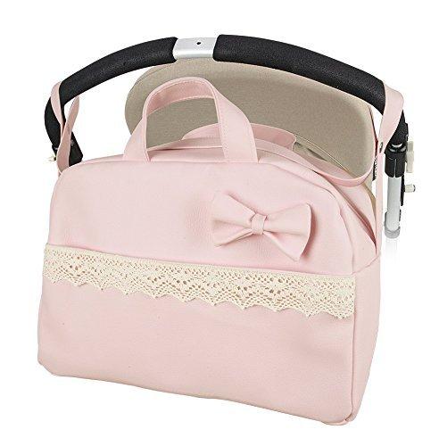 Regalo de un pack con dos baberos Bolso Maternal lactancia para capazo carrito bebe danielstore Color rosa Penelope