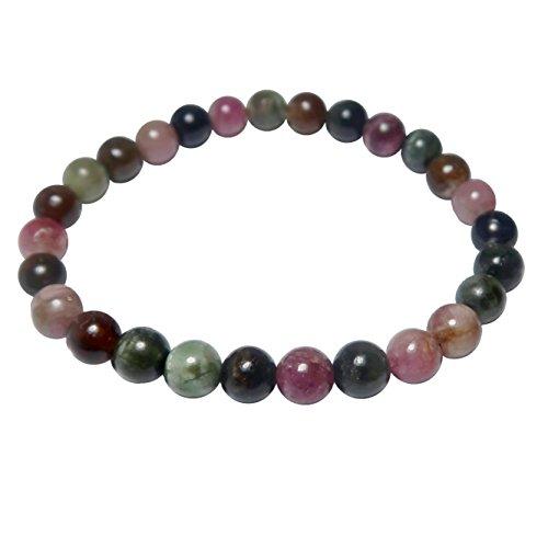 SatinCrystals Tourmaline Rainbow Bracelet 5mm Boutique Colorful Genuine Stone Black Pink Green Round Stretch Handmade B01 (5.75