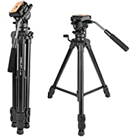 65/166cm Fluid Head Tripod, Kamisafe VT-1500 Adjustable Camera Video Tripod Legs Stand with Detachable Fluid Drag Pan Tilt Head for Canon Nikon Sony DSLR Camera Camcorder Video Shooting Filming