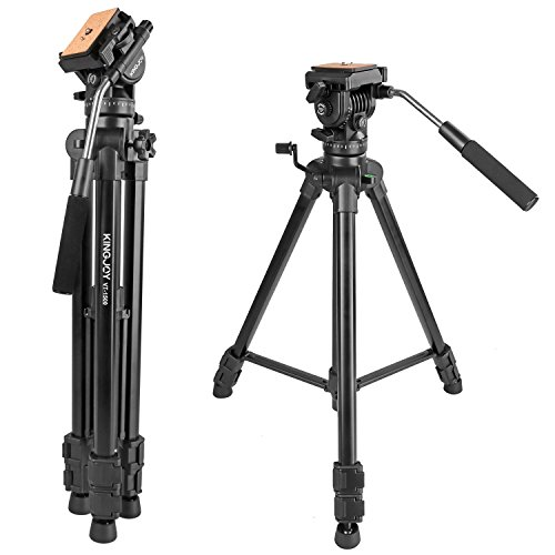 "65""/166cm Fluid Head Tripod, Kamisafe VT-1500 Adjustable Camera Video Tripod Legs Stand with Detachable Fluid Drag Pan Tilt Head for Canon Nikon Sony DSLR Camera Camcorder Video Shooting Filming"