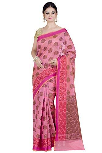 Chandrakala Women's Pink Chanderi Banarasi Saree,Free Size(1292PIN)