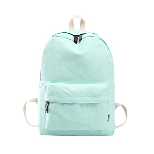 Lanhui_Girls Exquisite Canvas Preppy Shoulder Bookbags School Travel Backpack Bag (Mint Green)