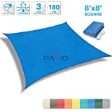 Patio Paradise 8' x 8' Blue Sun Shade Sail Square Canopy - Permeable UV Block Fabric Durable Outdoor - Customized Available