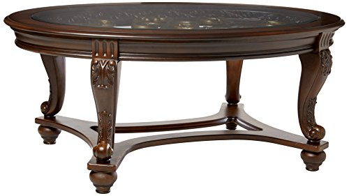 Ashley Furniture Signature Design – Norcastle Glass Top Coffee Table – Cocktail Height – Oval – Dark Brown