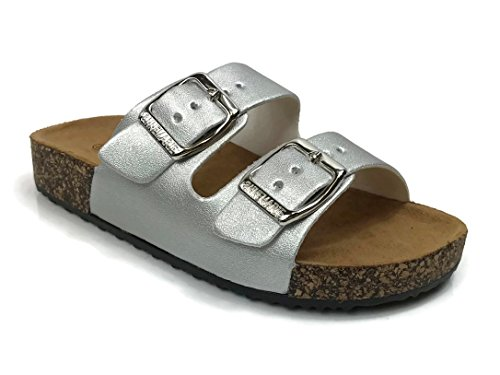 Silver Annas Slide Double Sole Anna Buckle Sandal K Cork Strap Fashion Women's qxvfqwTrg