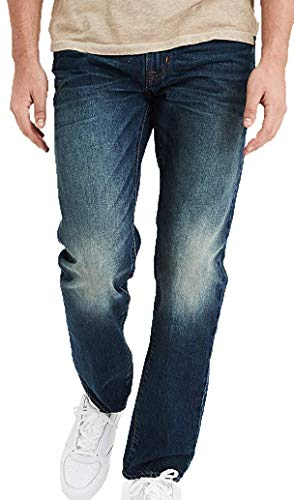 American Eagle Mens Slim Straight Jean, Dark Wash (38W x 30L)