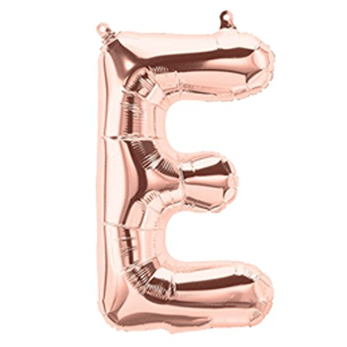 Chic 16 Alphabet Letter Rose Gold Foil Balloon for Celebration Party Decoration Birthday Wedding Anniversary - A to Z (E)