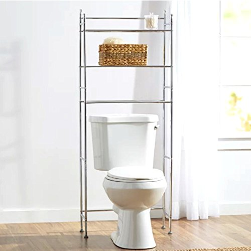 Bathroom Etagere Over Toilet, Metal Rack Compact Storage Free-Standing Etagere Over The Toilet with Chrome Finish& E-Book by Bathroom