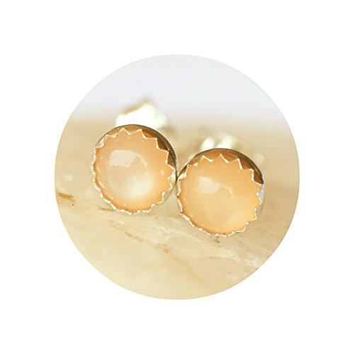 - Peach Moonstone Studs 5mm Round in Sterling Silver