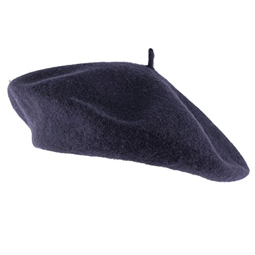 Hat To Socks Wool Blend French Beret for Men and Women in Plain Colours (Navy) - Beret Blue Navy