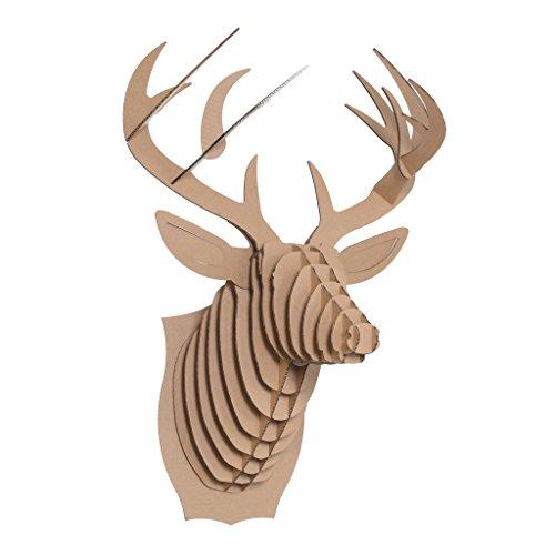 Cardboard Safari Recycled Cardboard Animal Taxidermy Deer Trophy Head, Bucky Brown Large by Cardboard Safari