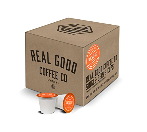 Real Good Coffee Co Breakfast Blend Light Roast Coffee K Cups, 36 Count, Recyclable Single Serve Coffee Pods for Keurig K Cup Brewers (Keurig Mild Coffee)