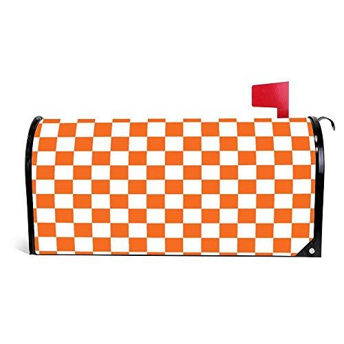 Yilooom Orange Checkerboard Mailbox Cover Magnetic Mail Box Wrap Yard Garden Decor 17.25 X 20.75 Inches]()