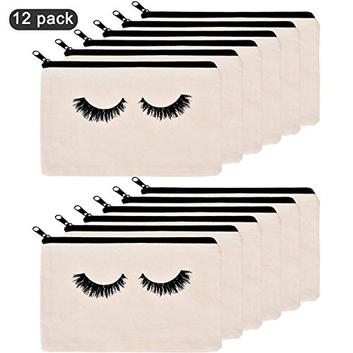 (Trounistro 12 Pieces Eyelash Makeup Bags Cosmetic Bags Travel Pouches Toiletry Bag with Zipper for Women)