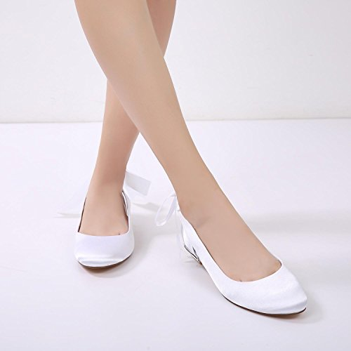 L@YC Jane Peep Toe High Heel Para Mujer 5049-20 Lazo de Cinta Satén Bombas nupciales de La Boda Zapatos Blue