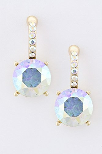 KARMAS CANVAS ROUND CRYSTAL EARRINGS (AB/Gold) (Necklace Trifari Chain)