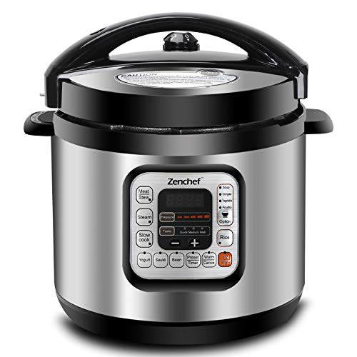 Zenchef Pro 11-in-1 6Qt Pressure Cooker Stainless Steel Multi-Use Programmable, Slow Cooker, Rice Cooker, Yogurt Maker, Cake Maker, Egg Cooker, Poultry Cooker, Vegetable Cooker, Sauté Steamer, Warmer, and Sterilizer (Pro)