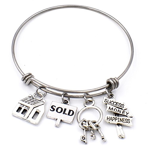 Real Estate Agent Charm Bangle Stainless Steel Expandable Wire Bracelets Realtor Jewelry Gifts (Sign Charm Sold)