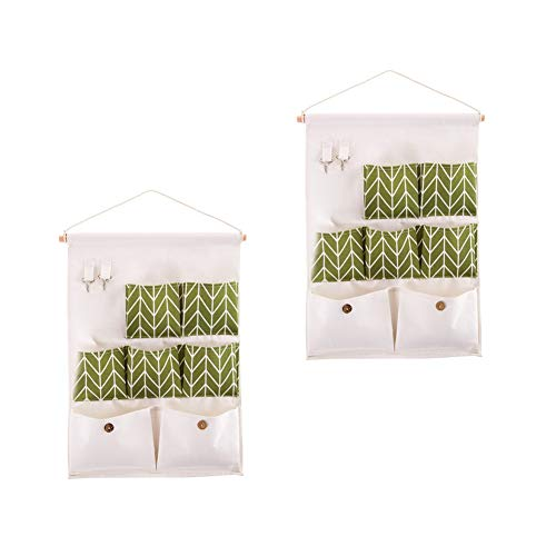 Green Wall Pocket - Flytianmy Over The Door Organizer Wall Door Closet Hanging Storage Bag Case 7 Pockets with 2 Hooks Home Organizer Green