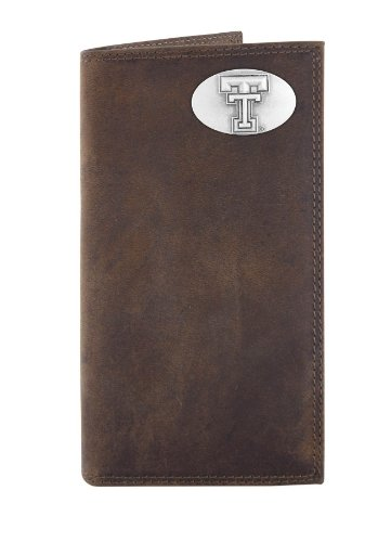 (NCAA Texas Tech Red Raiders Zep-Pro Crazyhorse Leather Roper Concho Wallet, Light Brown)