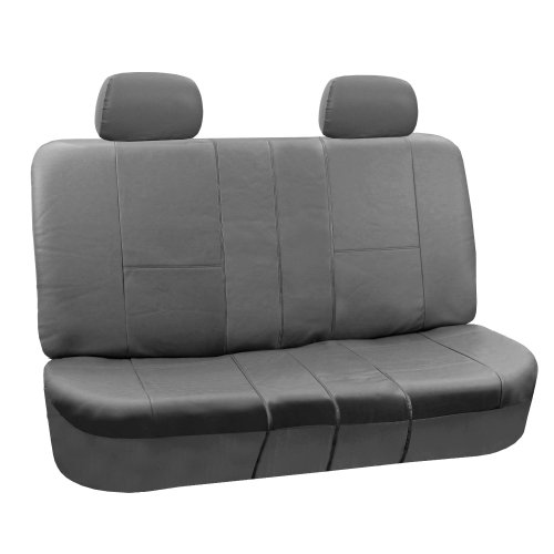 FH GROUP FH-PU002-1012 Classic Exquisite Leather Bench Seat Covers, Split Bench, Solid Grey color- Fit Most Car, Truck, Suv, or Van