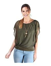 KRISP Women Oversized Chiffon Mesh Batwing 2 in 1 Necklace Vest Top Blouse