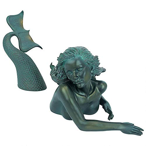 Design Toscano DB383047 Meara the Mermaid Swimmer Outdoor Garden Statue, 16 Inch, Green Verdigris (Statues Small Mermaid)