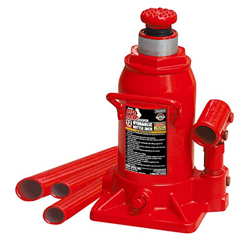 Torin Big Red Hydraulic Stubby Bottle Jack, 12 Ton - Pro Drawer 3 Garage Base
