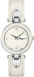 Salvatore Ferragamo Women's 'Giglio' Swiss Quartz Stainless Steel and Leather Casual Watch, Color:White (Model: FIW030017)