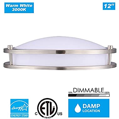 Cloudy Bay DCO1215830BN 12-inch 3000K Warm White Dimmable 15W 1050lm LED Flush Mount Ceiling Fixture -120W Incandescent Equivalent, ETL Energy Star LED Saturn Flush Mount , Brushed Nickel