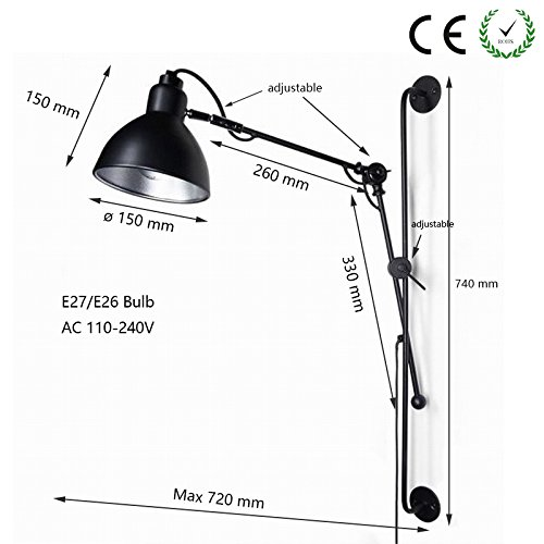 Newrays New Design Adjustable Antique Industrial Swing Arm Black Wall Lamp Lights with Switch For Bathroom Sconce Fixture