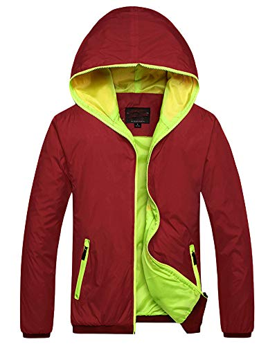 Red Slim Multi Warm Thick AnyuA Hoodie Hooded Casual Colored Jacket Men's Coat C7PnTxqw1
