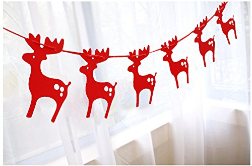 New Moose Garlands Christmas Decoration, 3M Lovely Hanging Paper for Christmas Party, Store Decoration, Christmas Tree Decoration (Moose Garland)